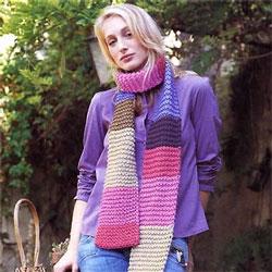 écharpe rayée à tricoter © Phildar