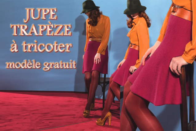 Tricot gratuit : jupe trapère