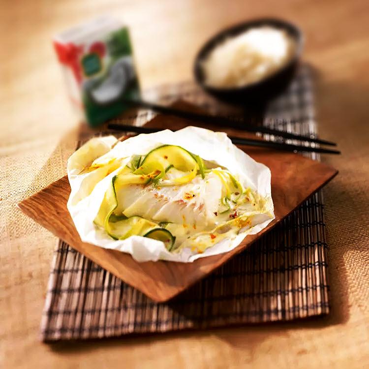 Spécial cuisine asiatique : Papillotes de poisson aux légumes, sauce coco curry