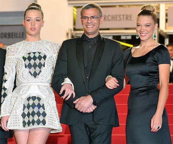 Léa Seydoux, Adèle Exarchopoulos et Abdel Kechiche au 66ème Festival de Cannes