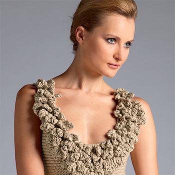 Robe tricot-crochet style couture - Création Bergère de France
