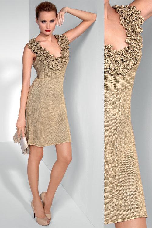 robe tricot et crochet - modèle gratuit © Bergère de France.