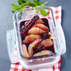 Recette pour lunch box de Yannick Alléno : Pamplemousse et sirop de vin rouge