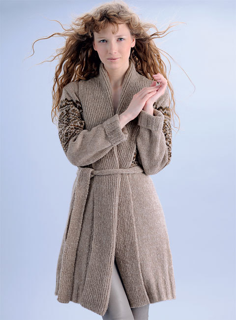 zoom TRICOT GRATUIT - longue veste jacquard à col châle - Création Phildar