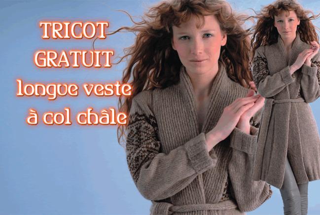 Tricot expliqué gratuit : veste jacquard à col châle - création Phildar