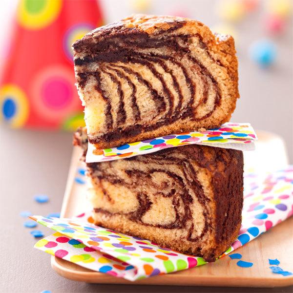 Zoom gâteau zébré vanille chocolat