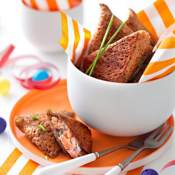 Zoom galettes au blé noir, saumon et oseille façon samoussa