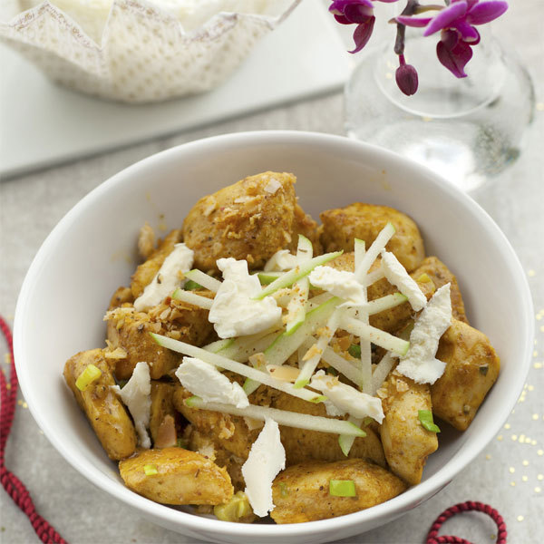 Zoom Crumble poulet curry, amandes, pomme Granny et Boursault