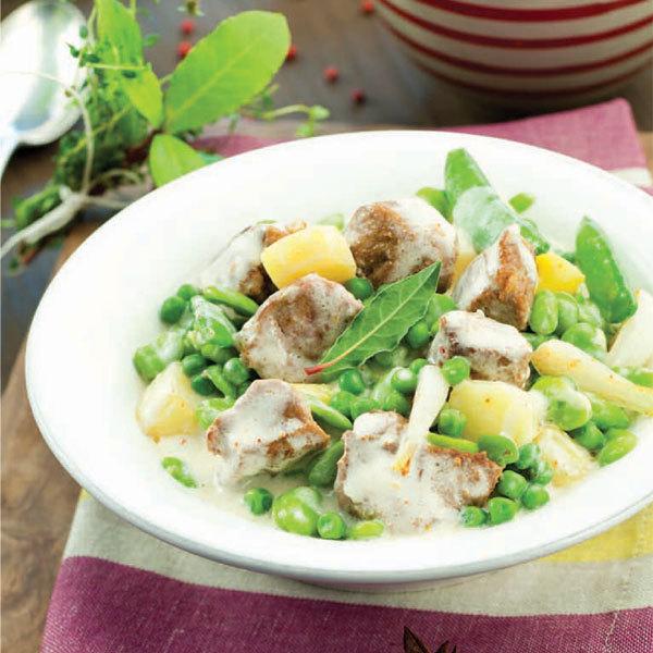 Zoom recette Navarin d'agneau pois et fèves à la crème