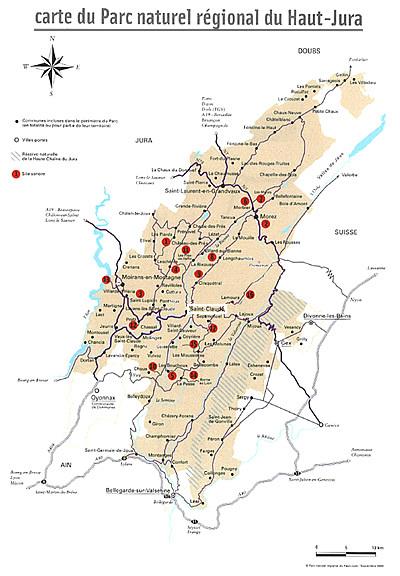 Carte de sites sonores du Parc naturel régional du Haut-Jura
