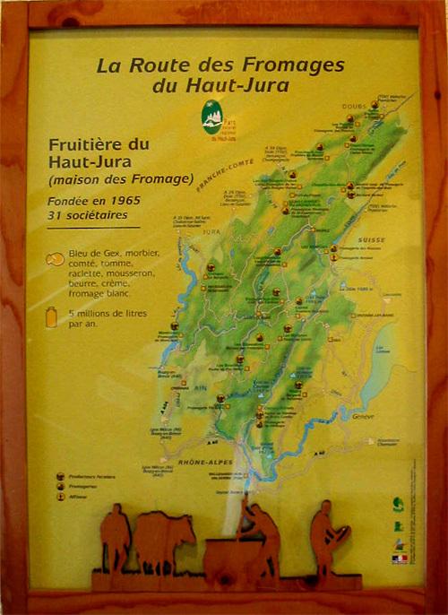 La route des Fromages affichée à la Fromagerie des Moussieres HAUT-JURA (D.R.)
