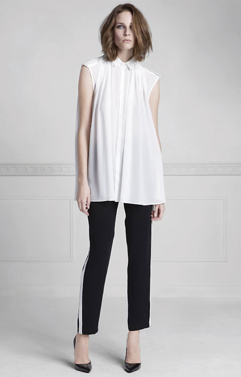 Chemise blanche tunique sans manches Anne Fontaine - été 2014