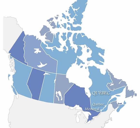 Carte du Canada et du Québec