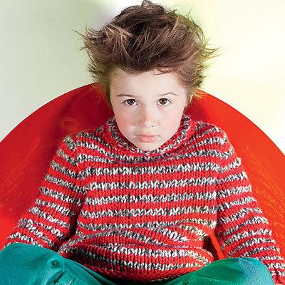Modèle expliqué gratuit : pull pour enfant rayé chiné à tricoter