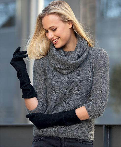 Modèle gratuit : Pull jersey et point ajouré et snood assorti à tricoter