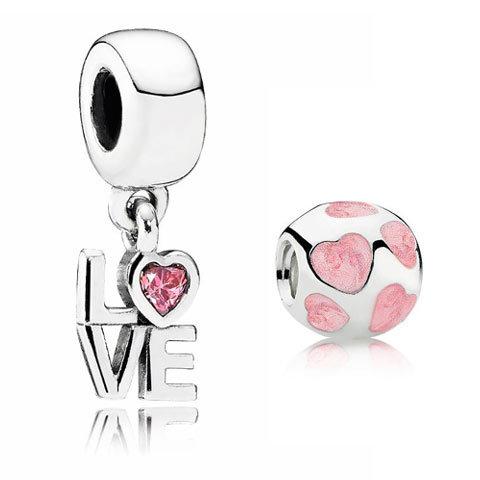 Pendentif 'Love' rose et charm 'Cœurs' Pandora