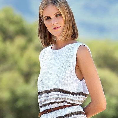 Modèle expliqué gratuit : robe tunique au point de riz à tricoter