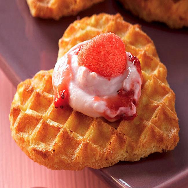 ZOOM recette aux fruits : Coeurs de gaufres aux deux fraises