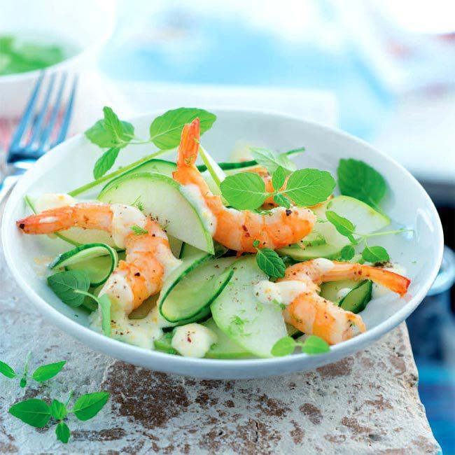 ZOOM recette salade de pommes granny, concombre et crevettes, crème à l'orange