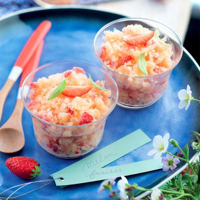 ZOOM recette Granité melon fraise verveine citron