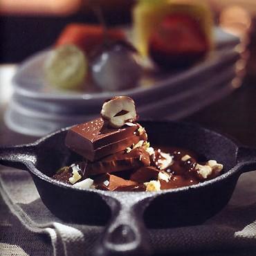 raclette de chocolat aux fruits