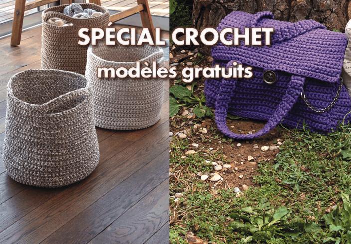 Modèles gratuits : crobeilles, sac à rabat et panier niche à crocheter