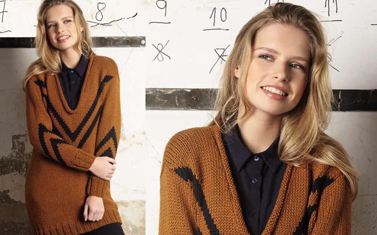 Modèle expliqué gratuit : pull encolure V roulottée et motif jacquard à tricoter