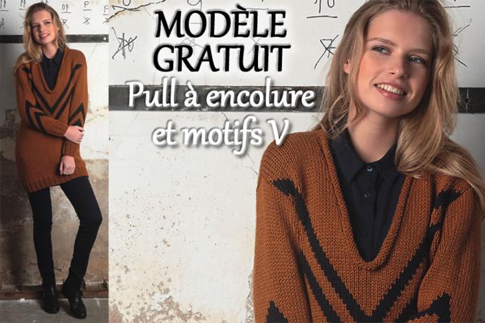 pull à motif jacquard et encolure V roulottée - tricot expliqué