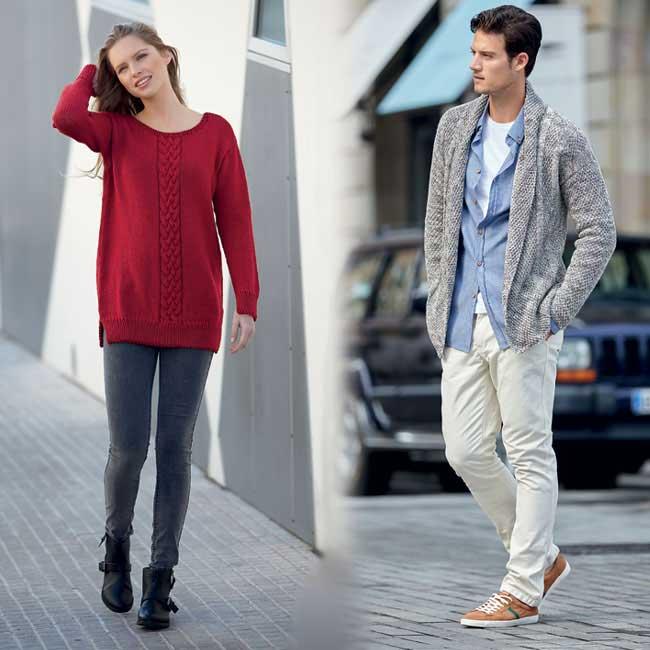 Modèles expliqués gratuits : Pull féminin à bande torsadée et veste d'homme à tricoter