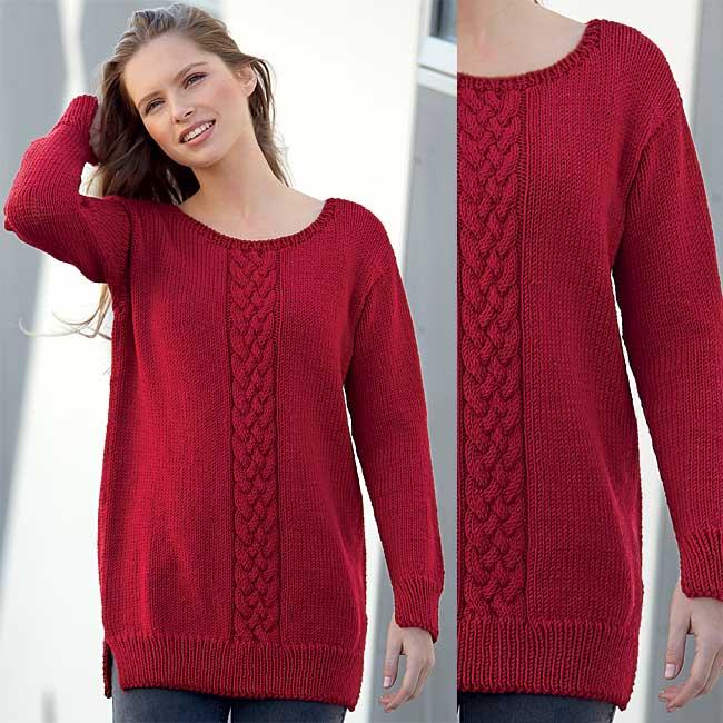 Zoom Pull rubis à torsades avec encolure dos à fils croisés à tricoter