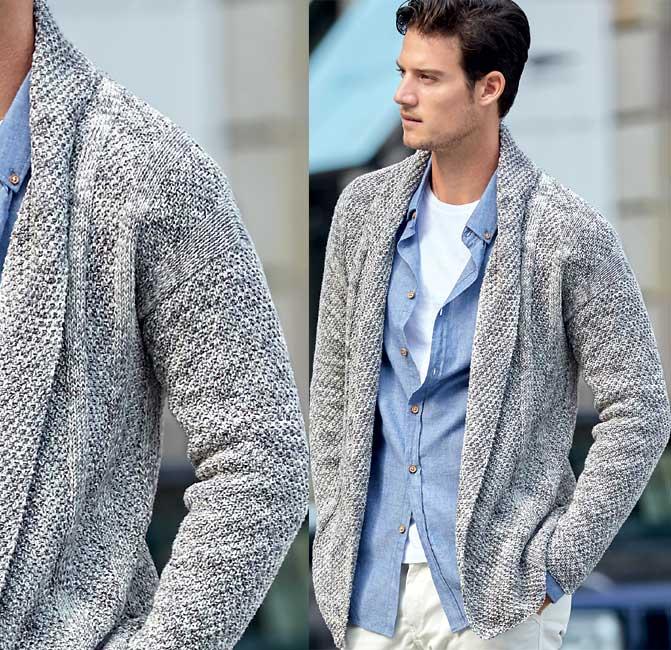 Modèle gratuit : veste-gilet col châle pour homme à tricoter