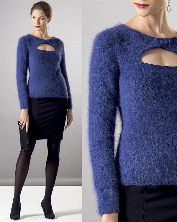 Zoom Modèle gratuit : Pull à manches longues en pur Angora à tricoter