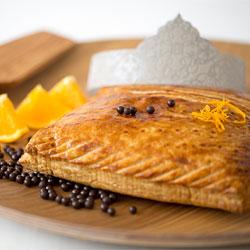 Galette des rois crème pâtissière et crème d'amandes orange-chocolat