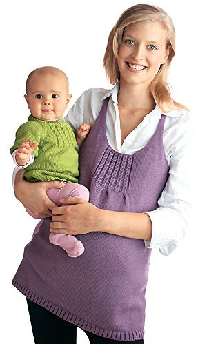 tuniques maman et bébé à tricoter, explications gratuites