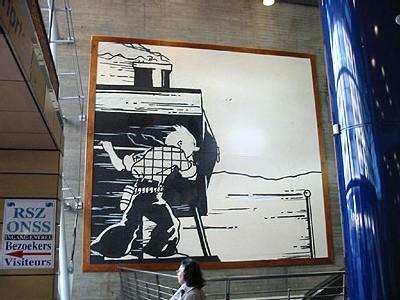 fresque Tintin à la gare du Midi à Bruxelles (D.R.)