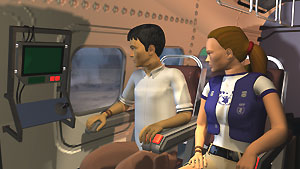 Joe et Rachel en hélicoptère dans le jeu Food Force.