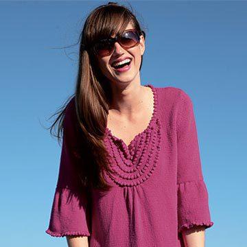 tunique à noppes à tricoter, explications gratuites