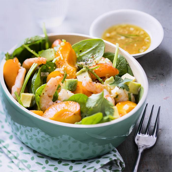 Salade de crevettes aux abricots et au piment d'Espelette - Photo : ©UE/SIPMM abricot/Amélie Roche.