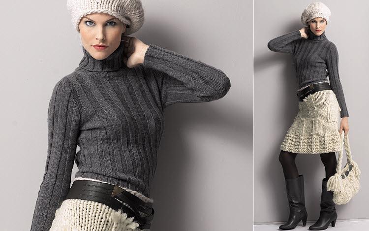 Modèles gratuits expliqués : pull + jupe + sac, créations Gedifra.