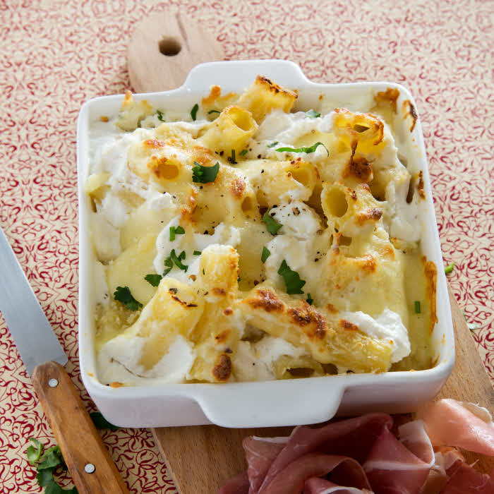 Recette all'italiana : Rigatoni al formaggio e parma (gratin de pâtes aux 4 fromages).