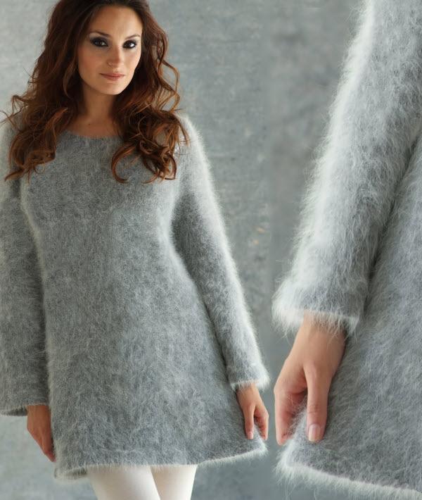 Tricot gratuit expliqué : robe tunique unie en angora au point jersey à tricoter © Création Anny Blatt.
