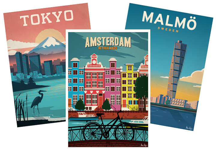 Cadeau thème 'MONDE' - Affiches villes du monde Sergeant Paper.
