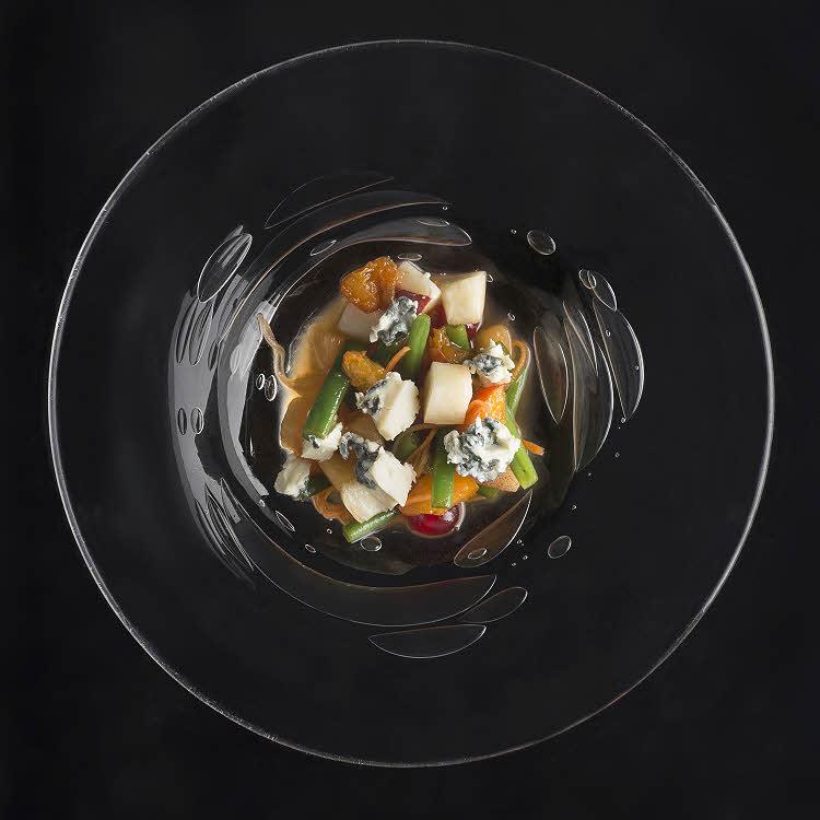 Recette de Pierre Gagnaire : tartare de fruits, légumes et Saint Agur au sirop acidulé @Jacques_Gavard