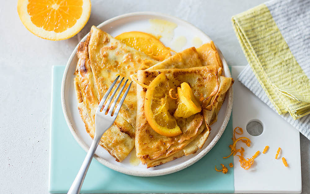 Crêpes suzettes à l'orange en version allégée