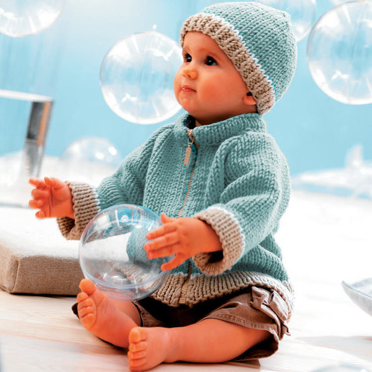Modèle gratuit : Cardigan zippé et bonnet pour bébé à tricoter à tricoter © Phildar.
