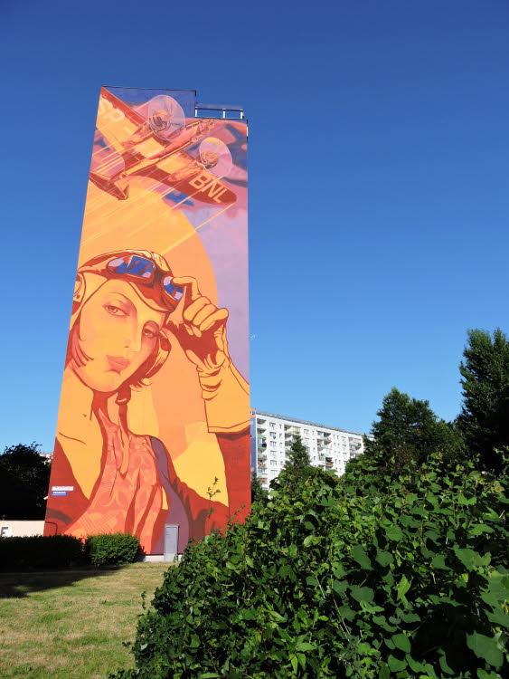 Une des façades peintes du quartier Zaspa, entre Gdansk et Sopot © ABCfeminin.com.