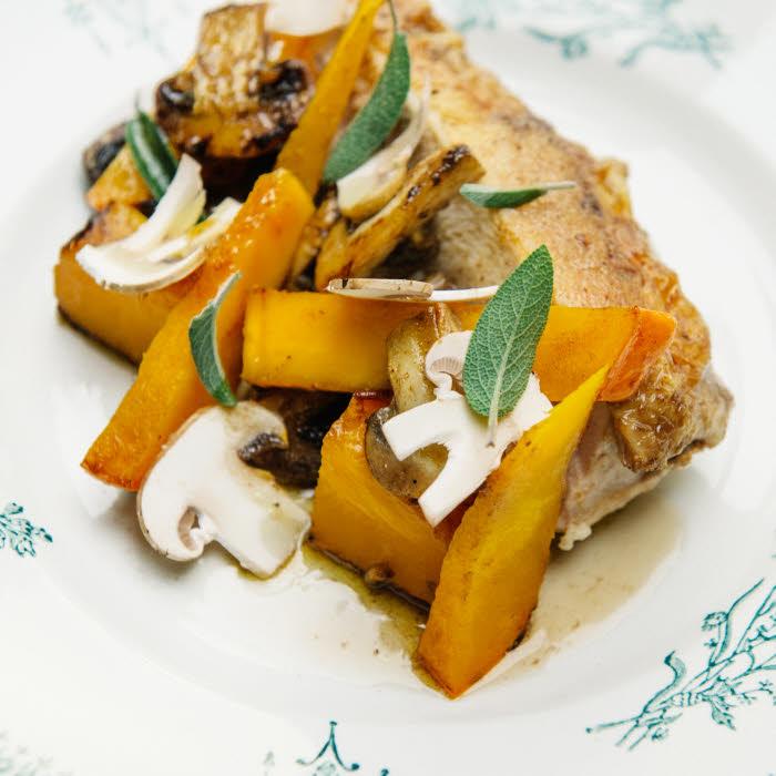 Recette du chef Florent Ladeyn : poulet saumurés et potimarron poêlé © Sarah Aubel / Agent Mel.