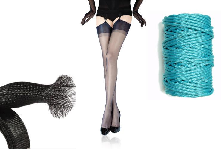 Photos : Manchon en nylon Orient Rubber / Bas nylon L'Atelier des rouges / Corde en nylon Paracordgalaxy.