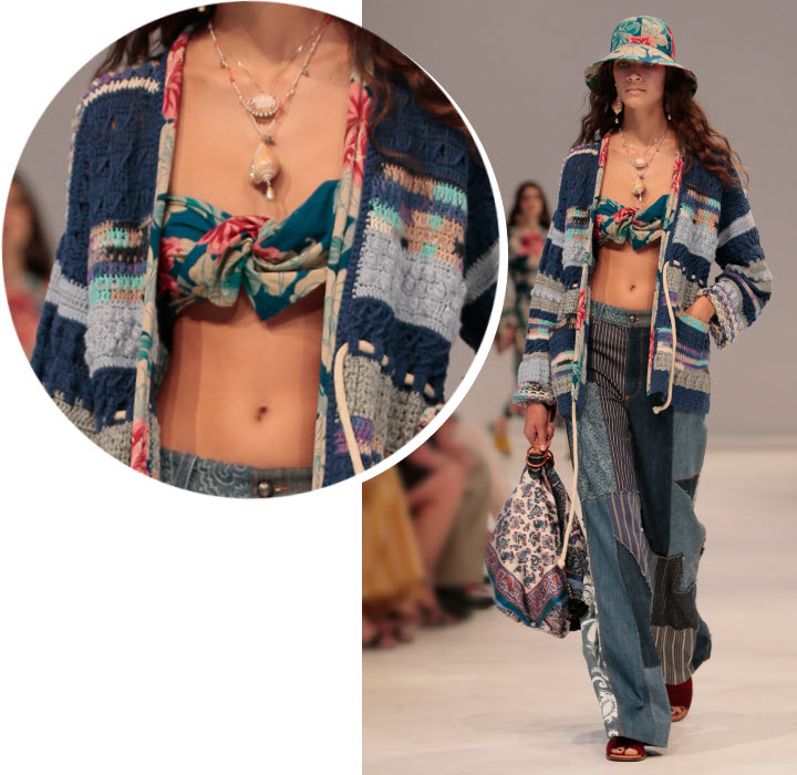 Bandeau foulard en camaïeu de bleu Etro - Collection printemps-été 2019.