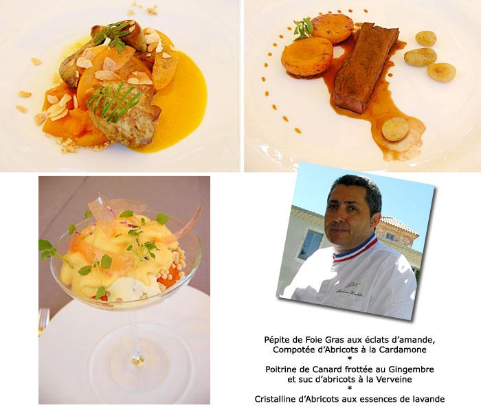 Menu aux abricots par le Chef étoilé Jérôme Nutile dans son restaurant, 351 chemin du Bas du Mas de Boudan à Nîmes.